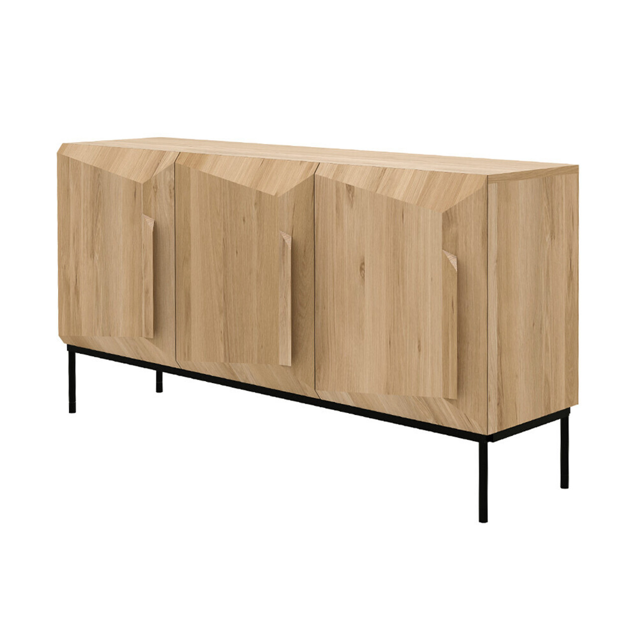 Faceted Light Oak Sideboard