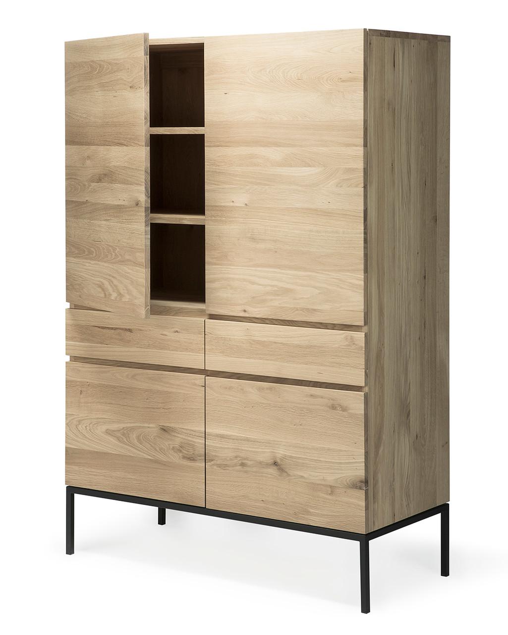Light Oak Dundee Tall Storage Cabinet Black Metal Legs