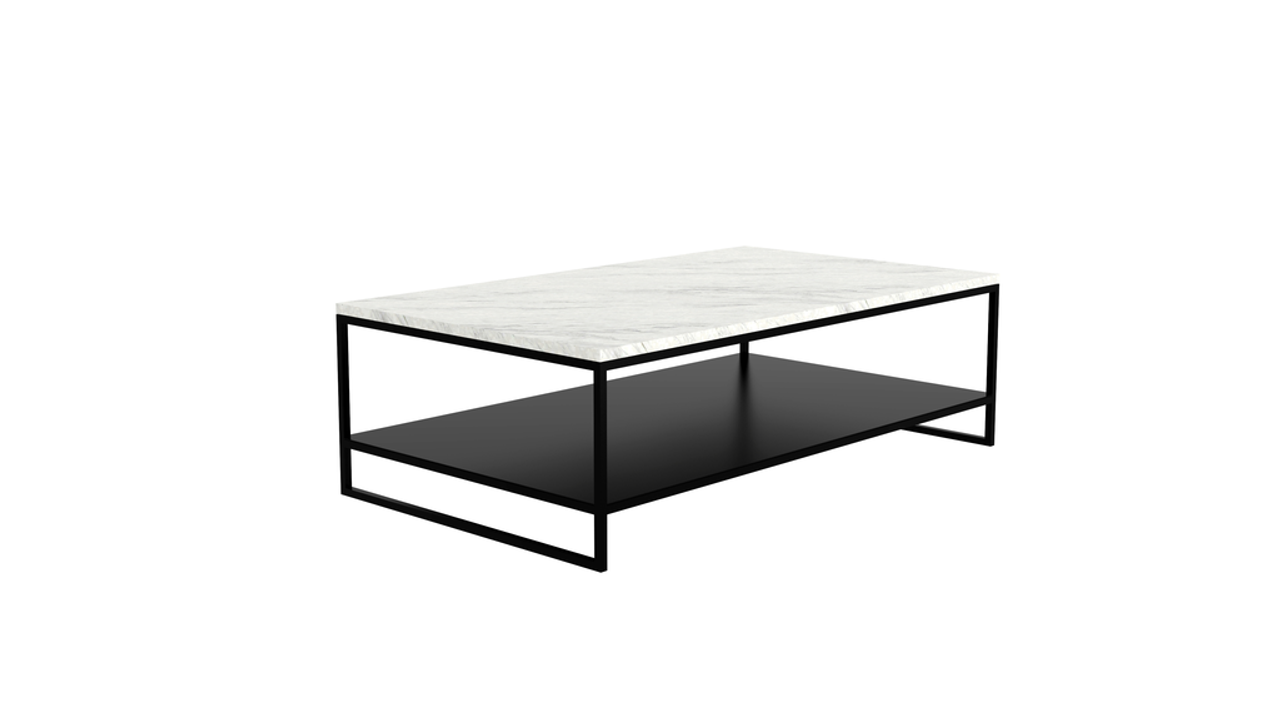 Marble Stone Black Metal Coffee Table