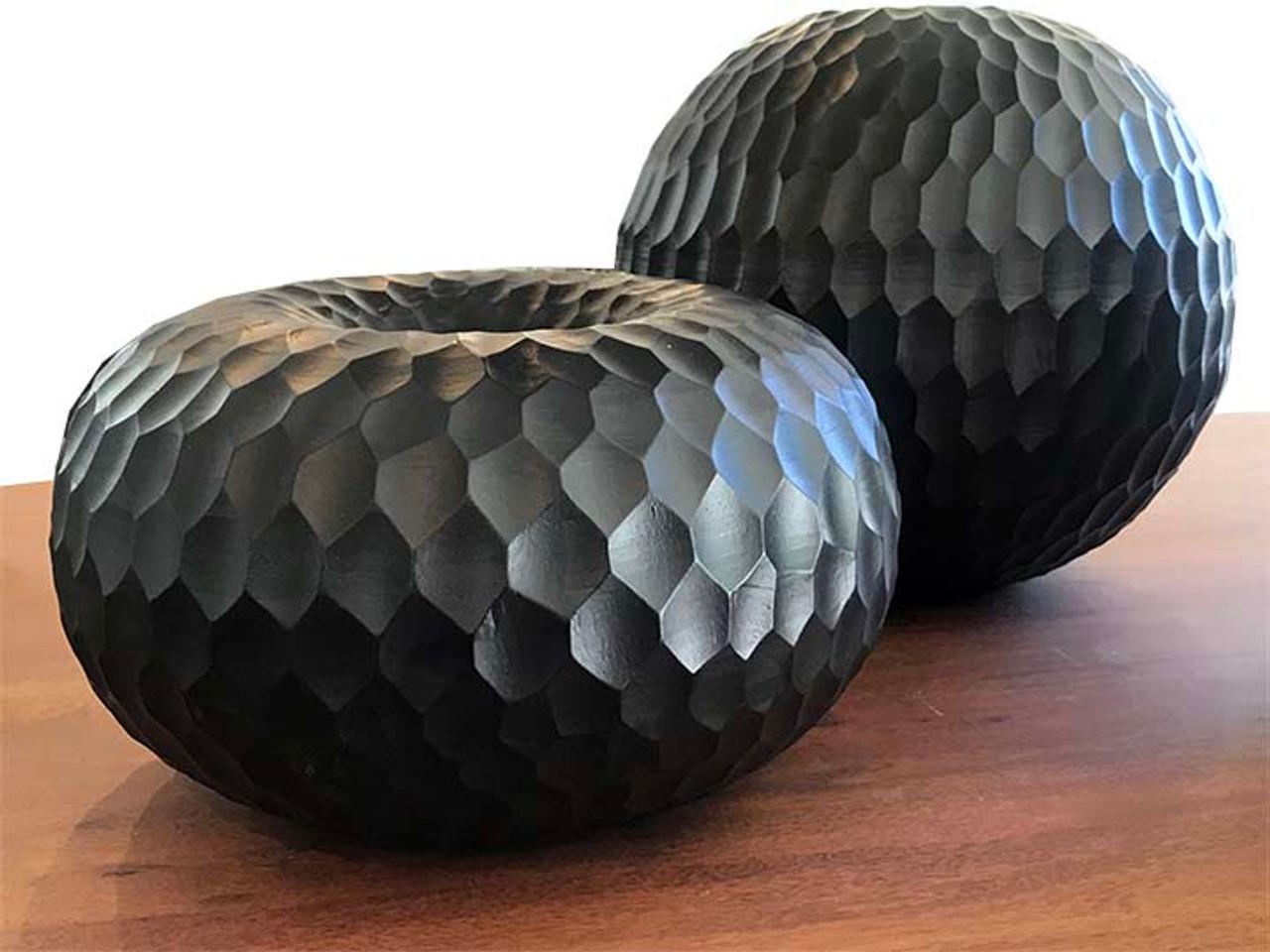 Black Mango Wood Collection - Honeycomb Large Round Centerpiece
