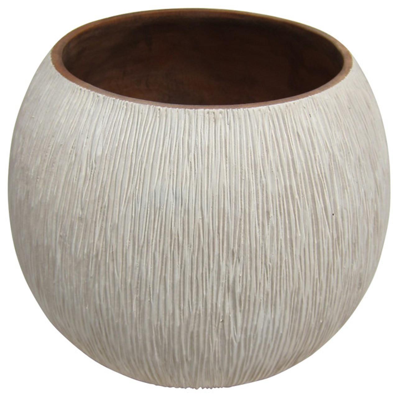 Mango Wood Hand Chiseled Vase - Low