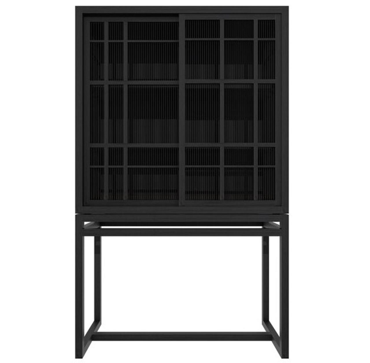 Modern Black Oak Aves Storage Cabinet