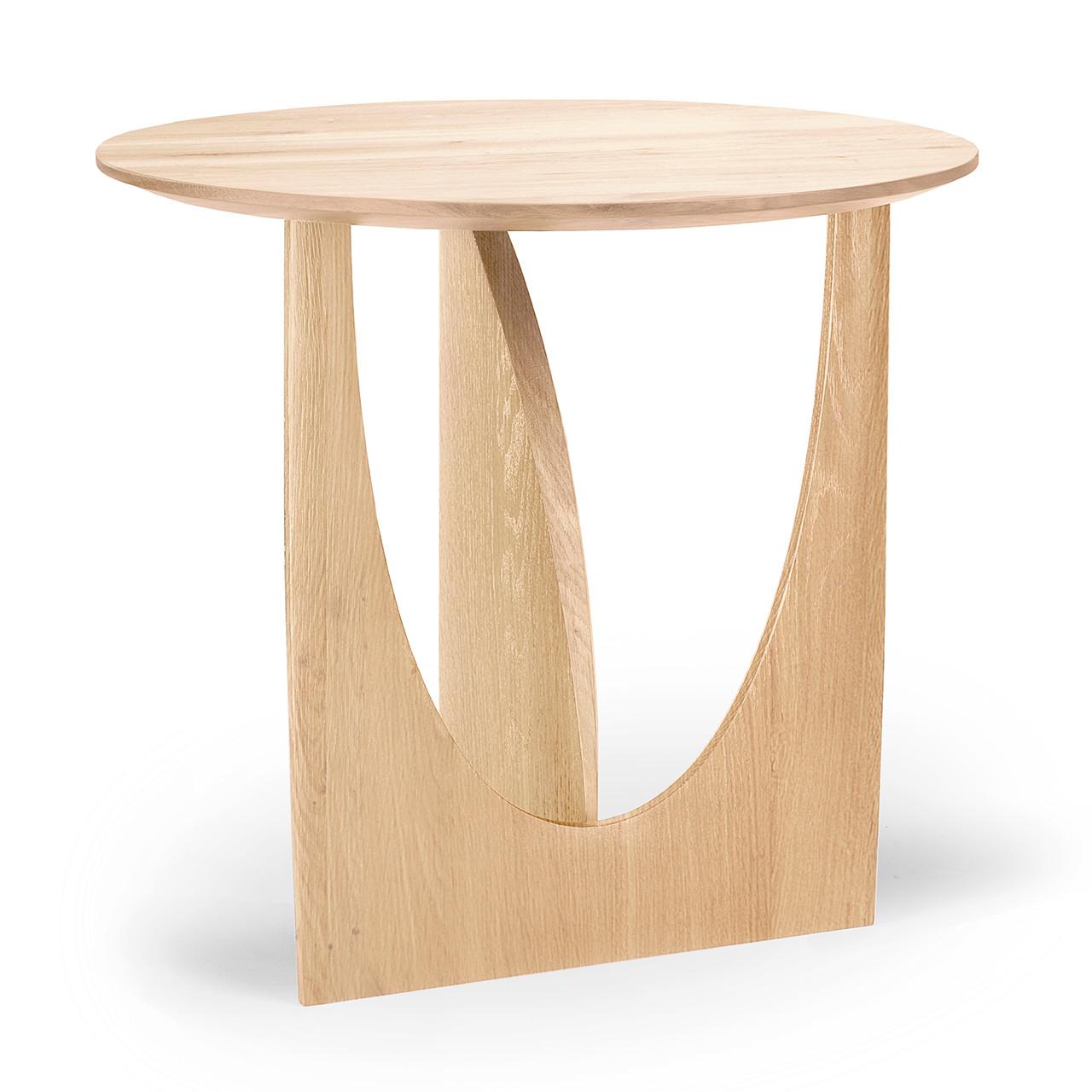 Asymmetric Round Oak Side Table
