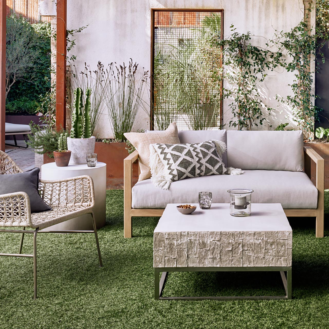 Roman Concrete and Chrome Outdoor Coffee Table