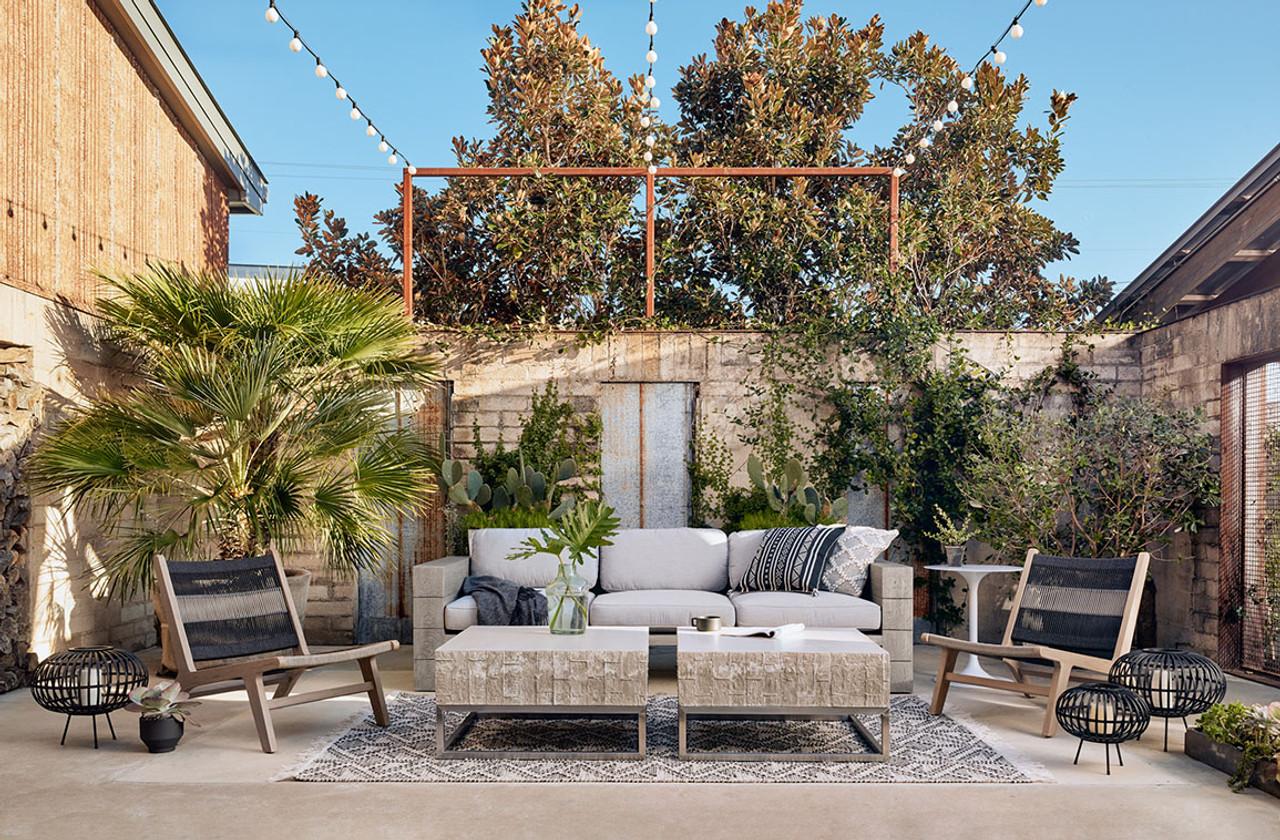 Royce Teak Outdoor Sofa - Weathered Grey