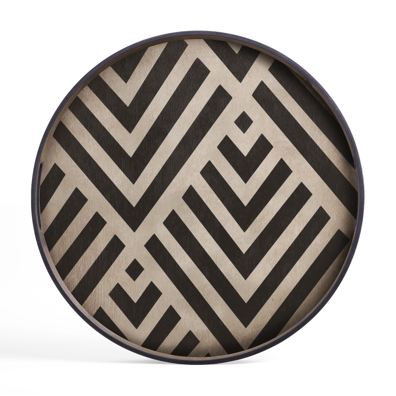 Graphite Chevron Round Dark Wooden Tray