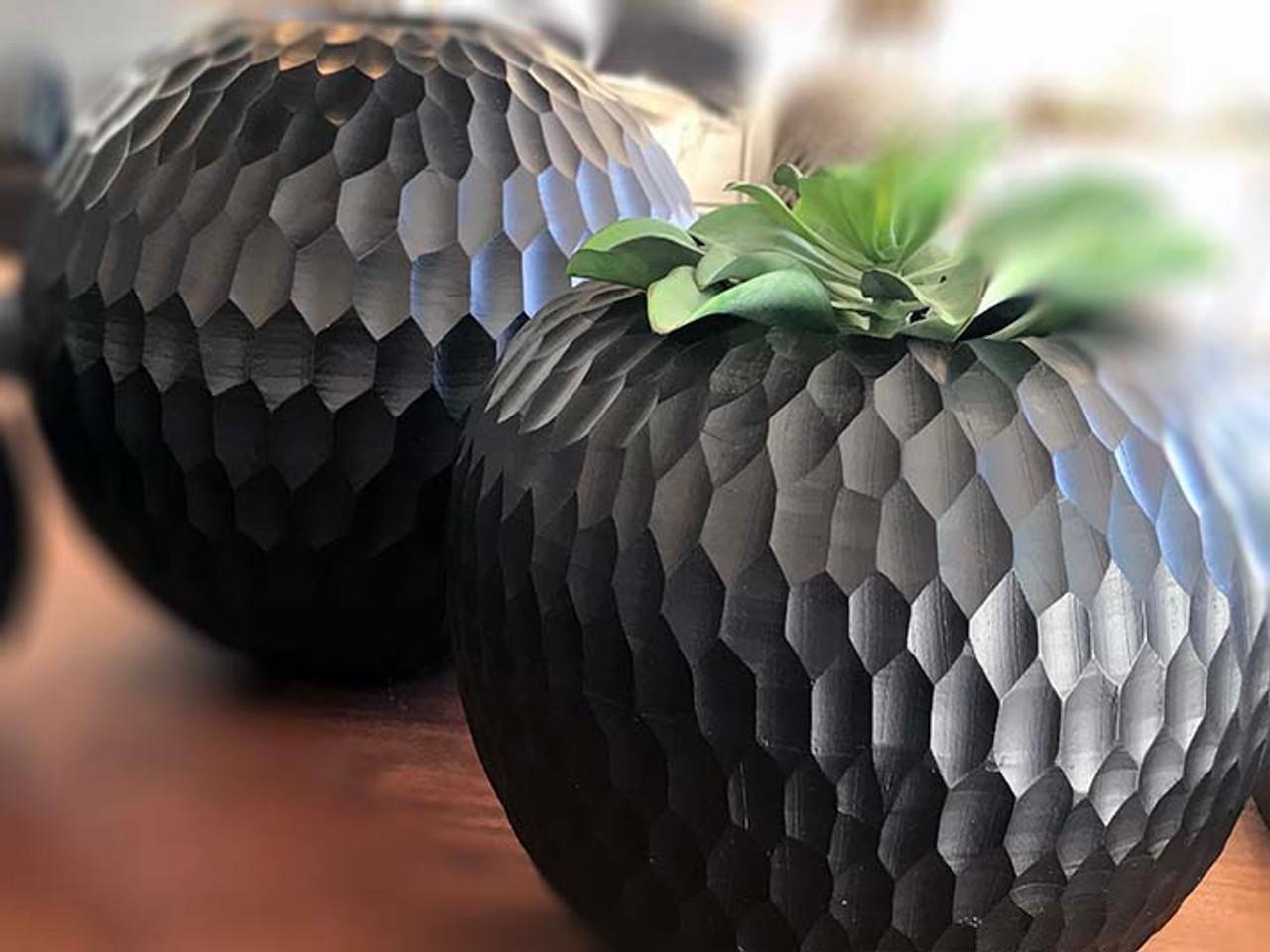 Black Mango Wood Collection - Honey Comb Apple Shape Center Piece