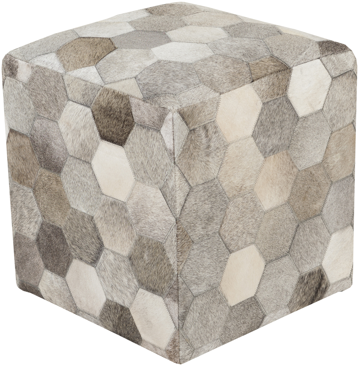 Trail Hair on Hide Leather Pouf