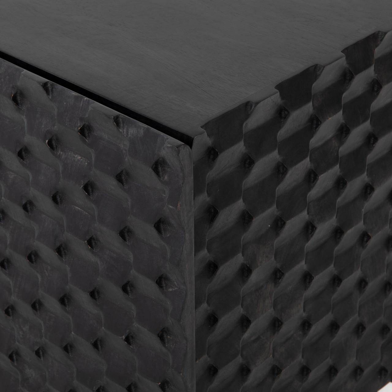 Calypso Carved Black Wash Media Console Storage Cabinet
