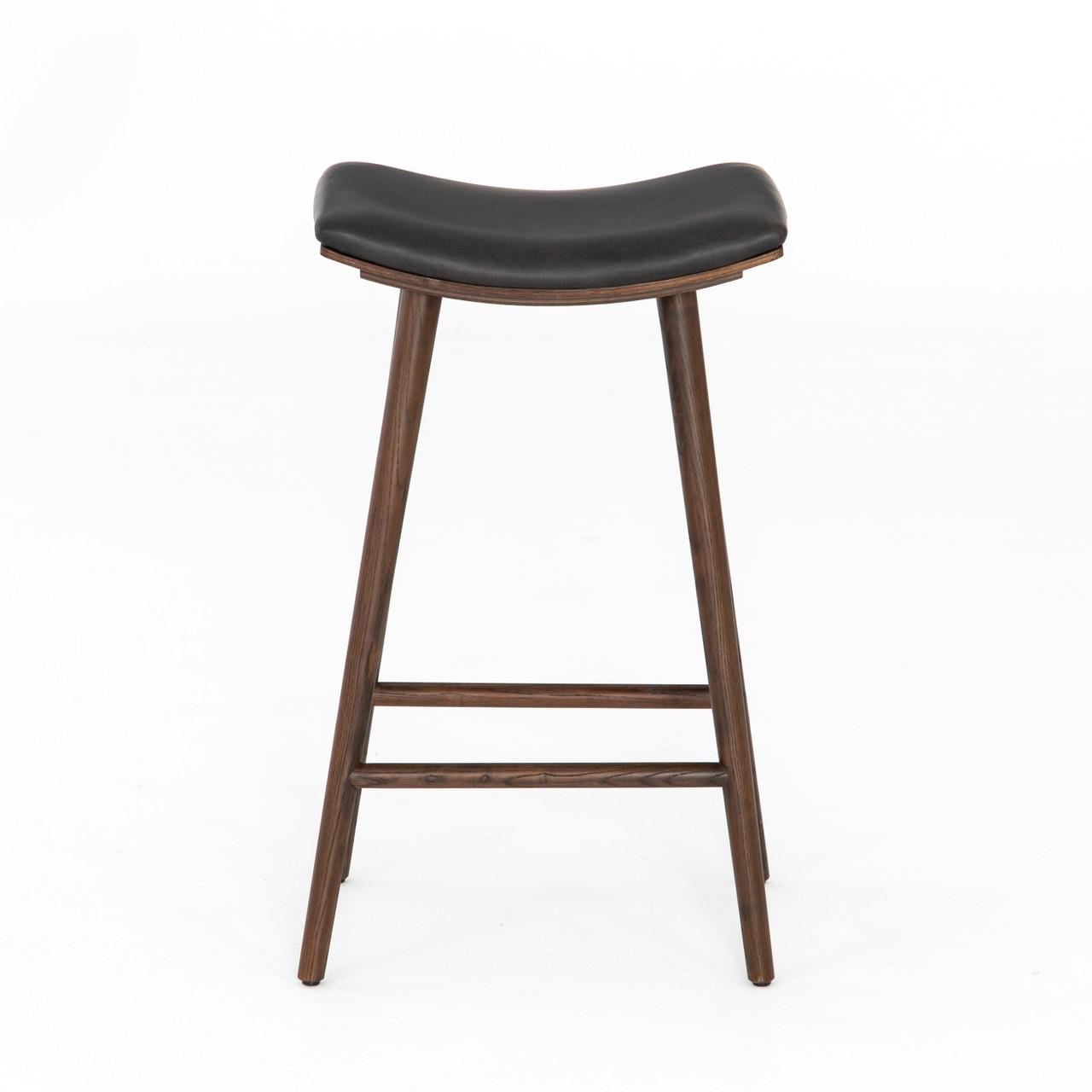 Luna Upholstered Saddle Black Oak Bar and Counter Stool