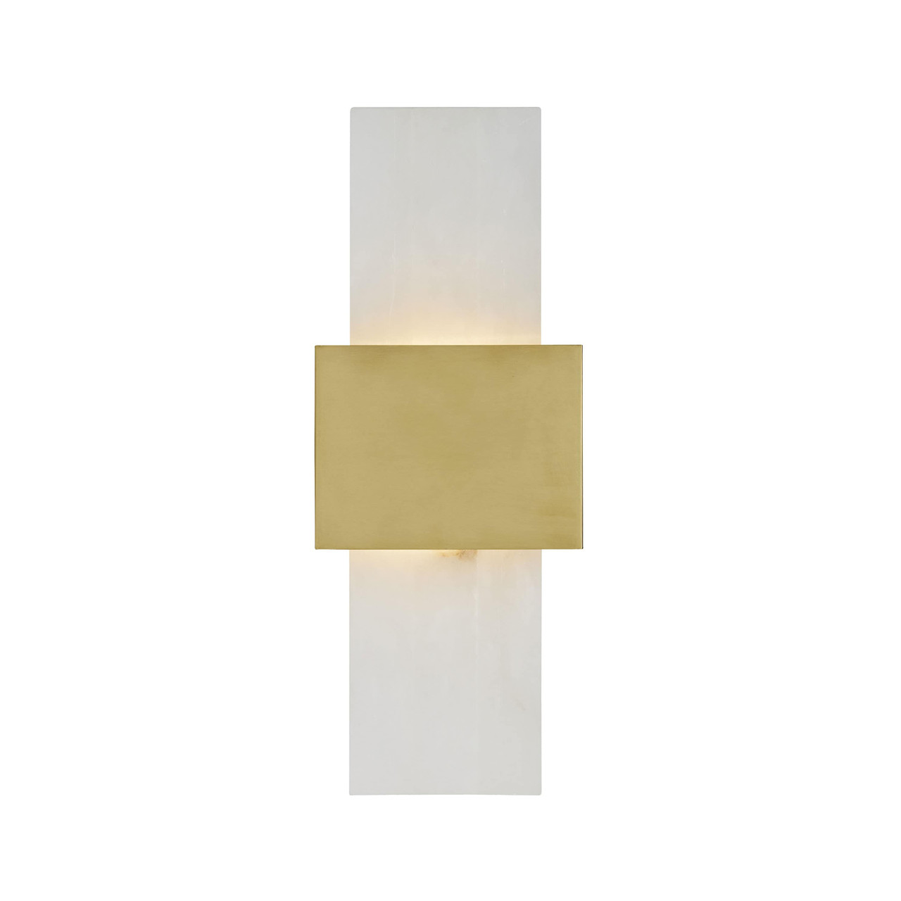 Stance Sconce White Marble Antique Brass