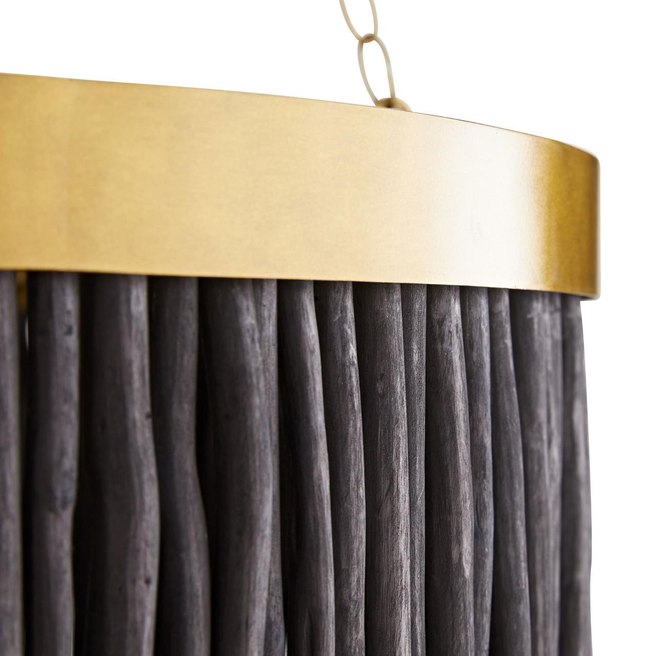 Rya Pendant Antique Brass Hand-carved Wood Batons