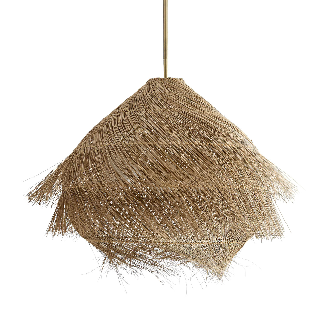 Buri Pendant Natural Woven Midribs, Antique Brass
