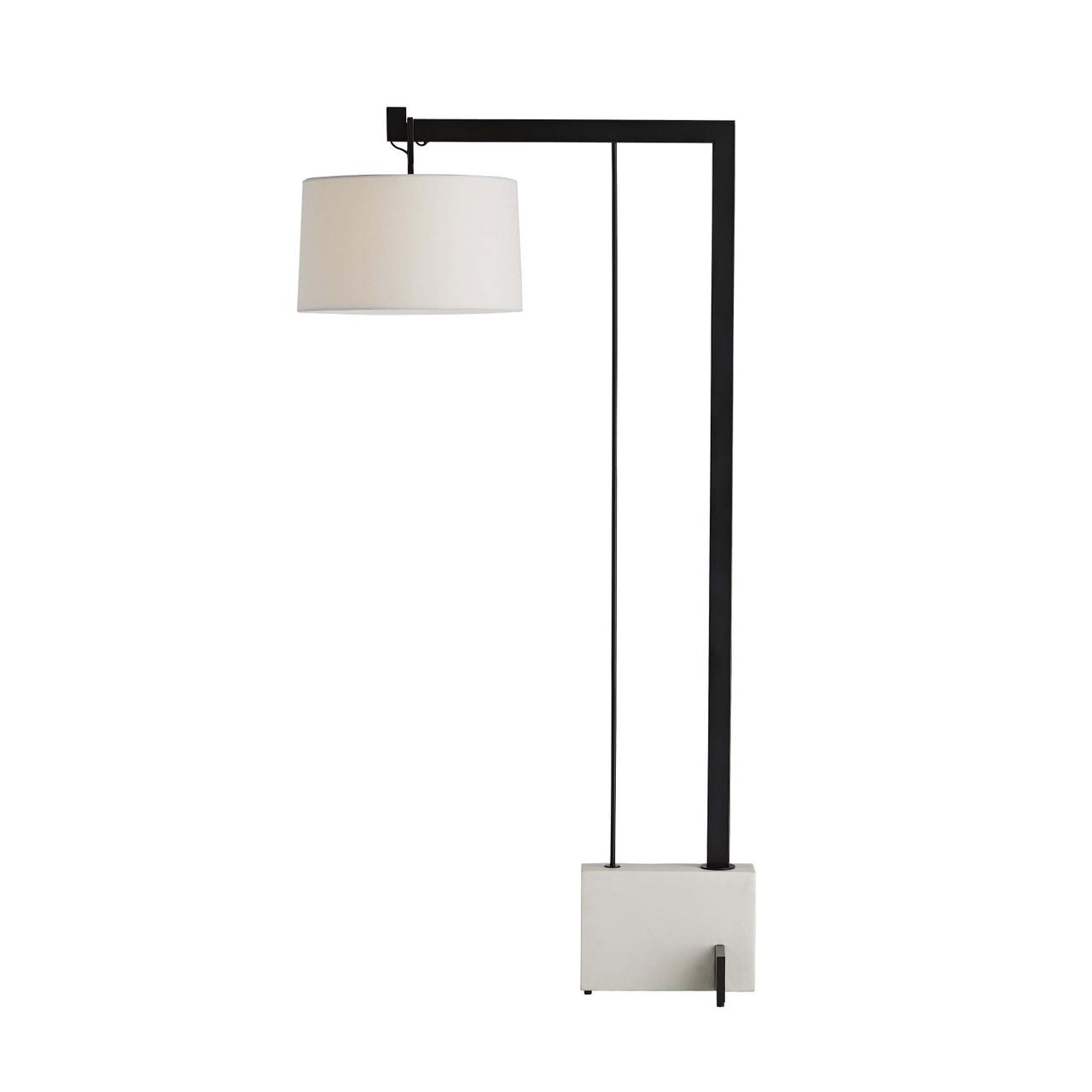 Loti Floor Lamp Bronze, Faux Marble, White Linen