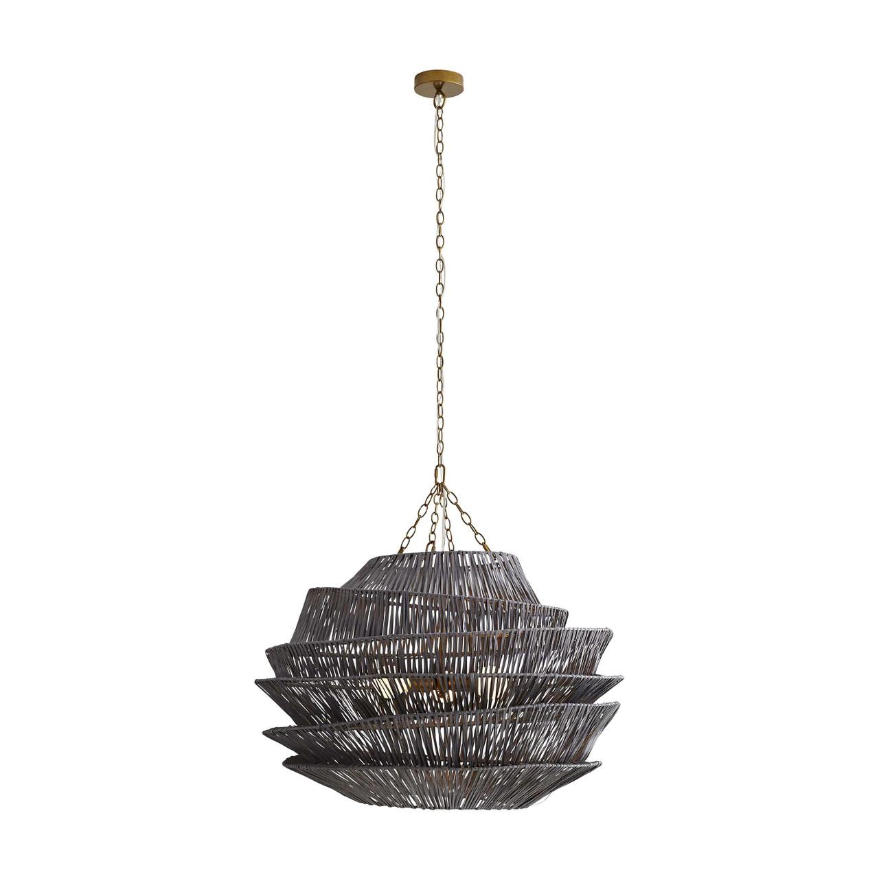 Arton Pendant Dark Gray Wash, Antique Brass Iron