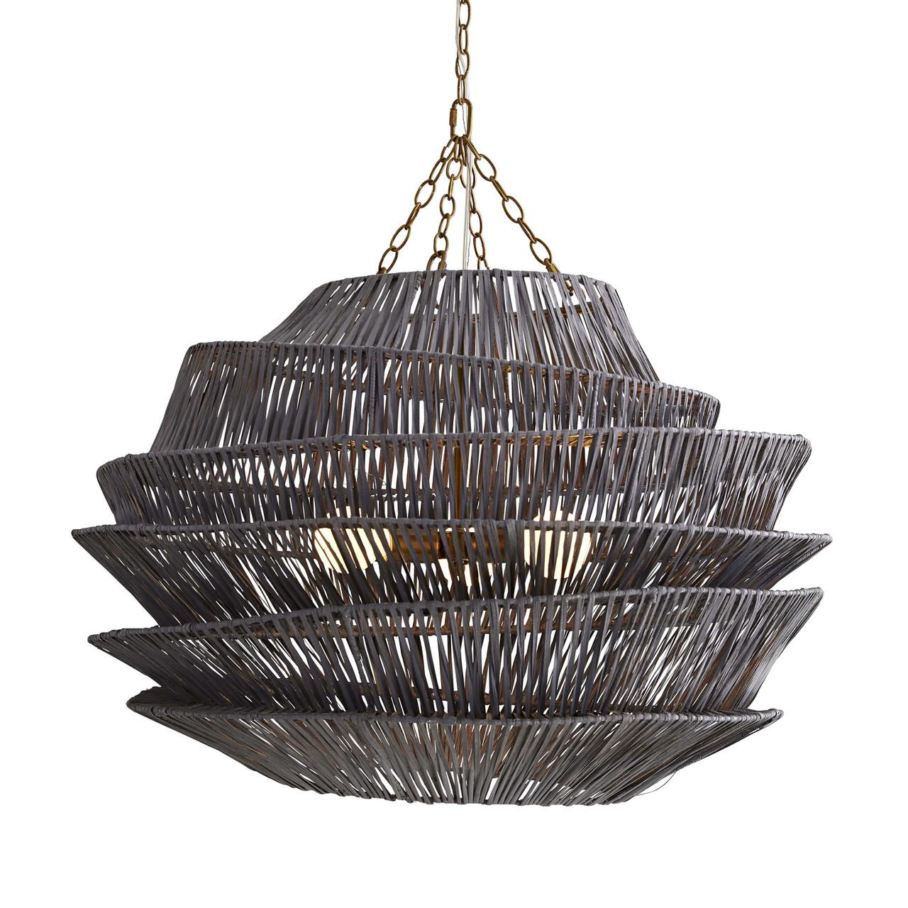 Banyan Pendant Dark Gray Wash, Antique Brass Iron