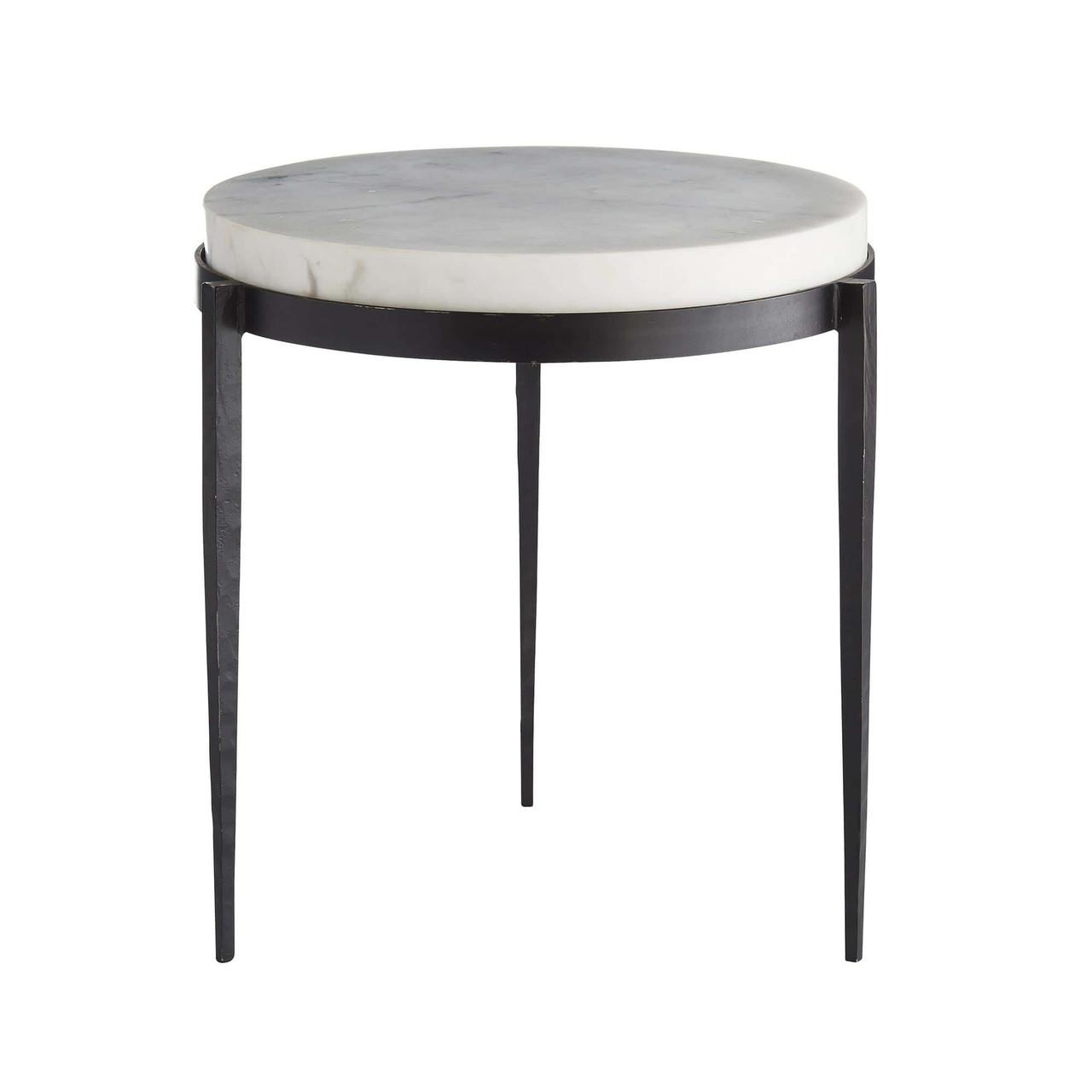 Elise Side Table Black Iron Legs, White Marble Top