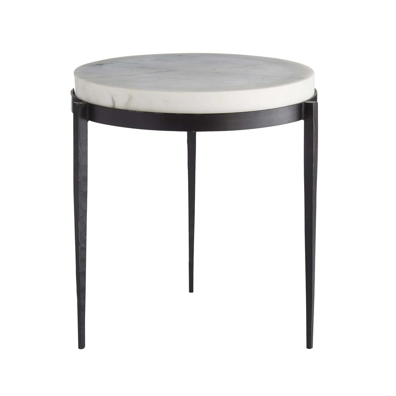 Picture of: Elise Side Table Black Iron Legs White Marble Top