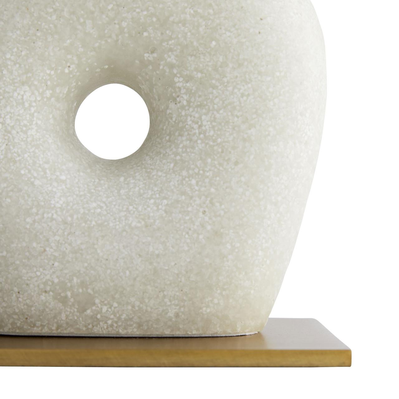 Century Sculpture White Stone Antiqued Brass Iron Base