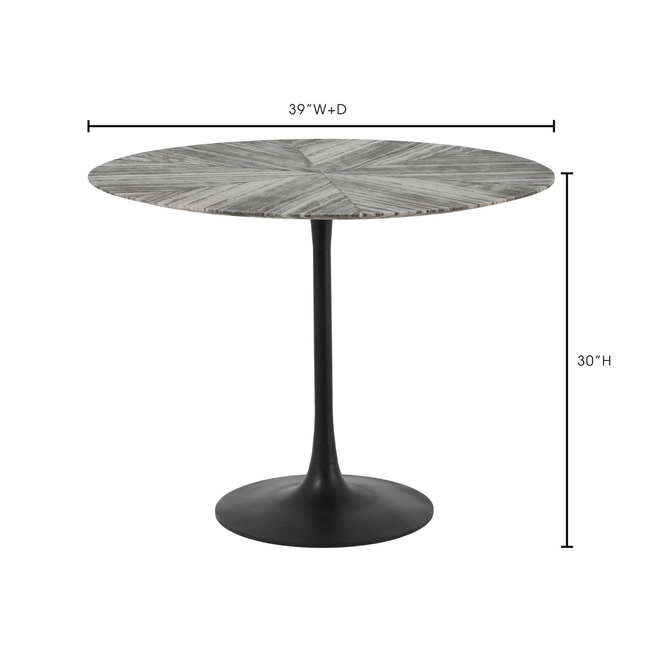 Leslie Dining Table Iron Pedestal Marble Top