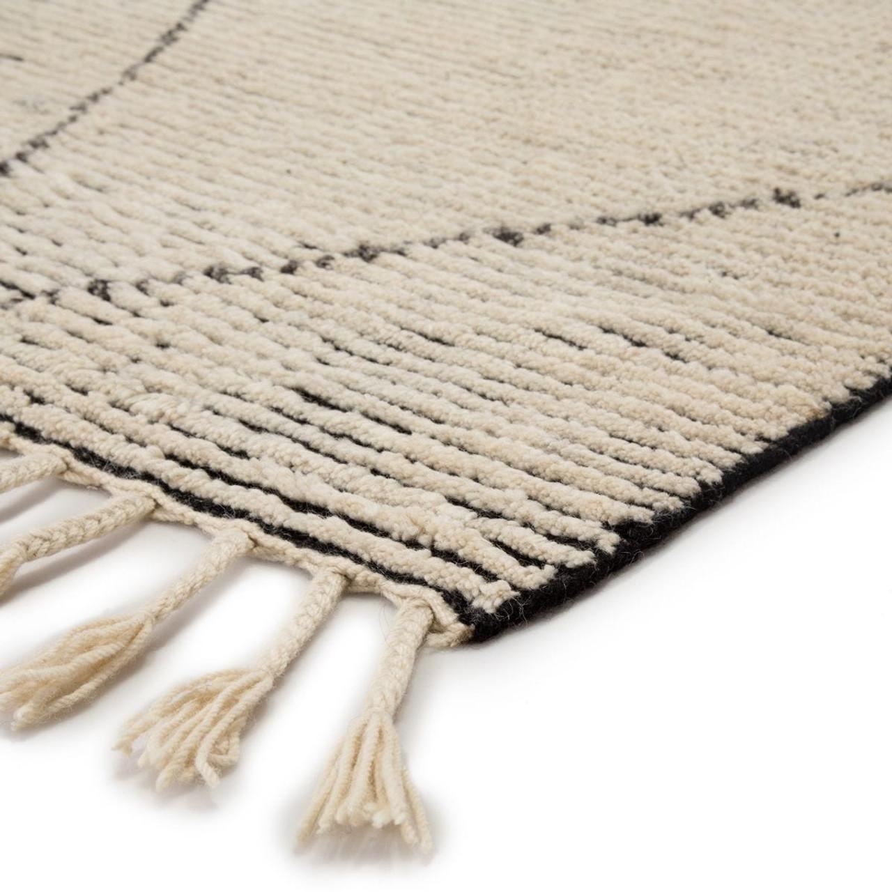 Alpine White Wool Area Rug with Braided Fringe