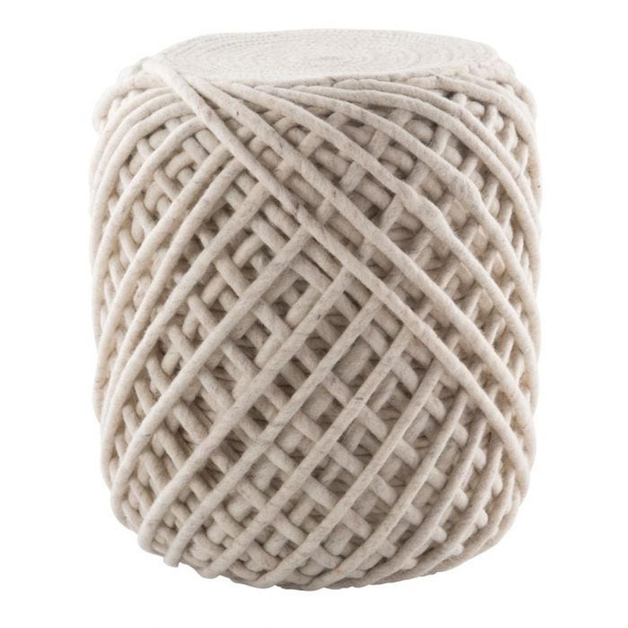 Nautica Wool Pouf - Ivory