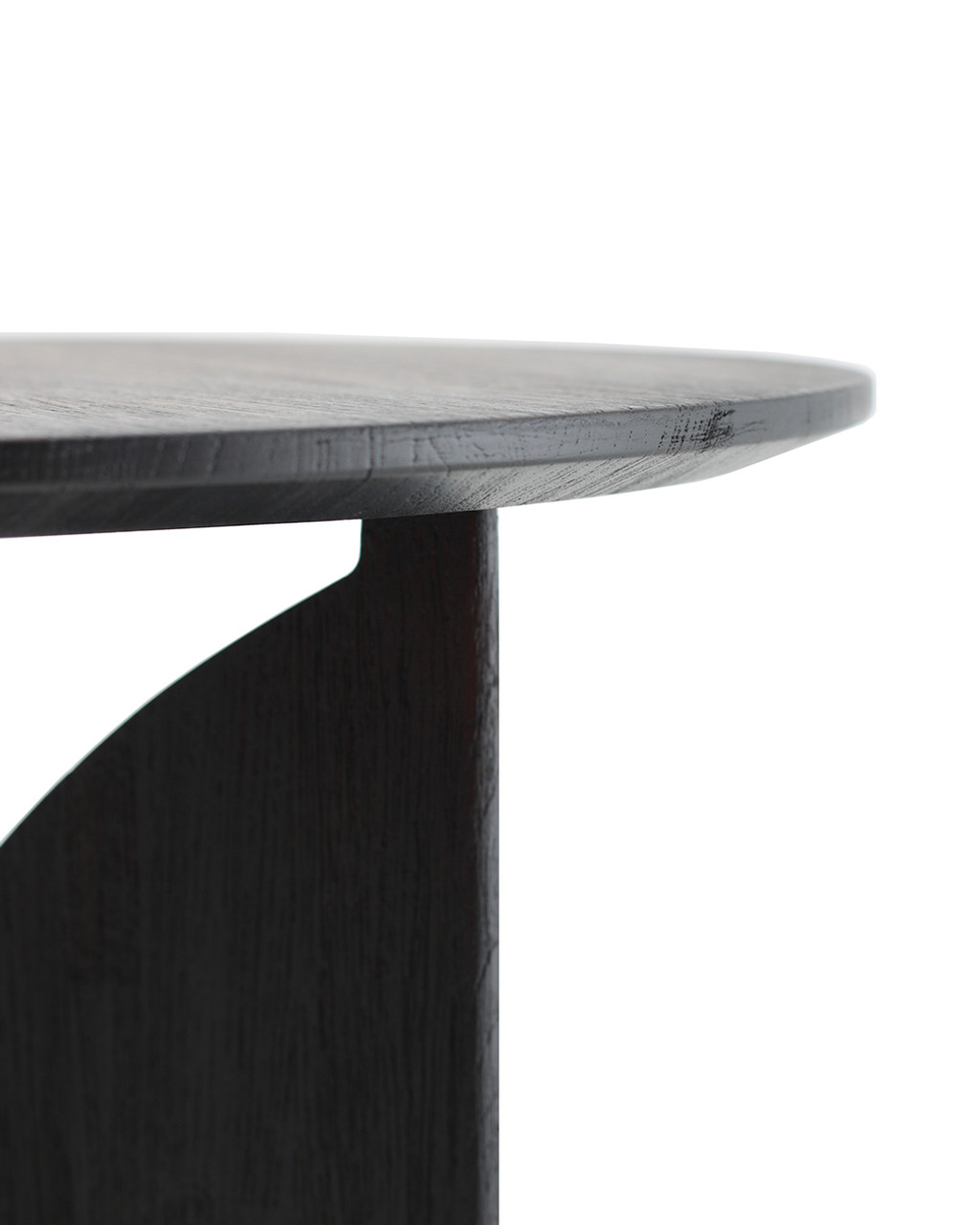 Teak Fin Black Round Side Table