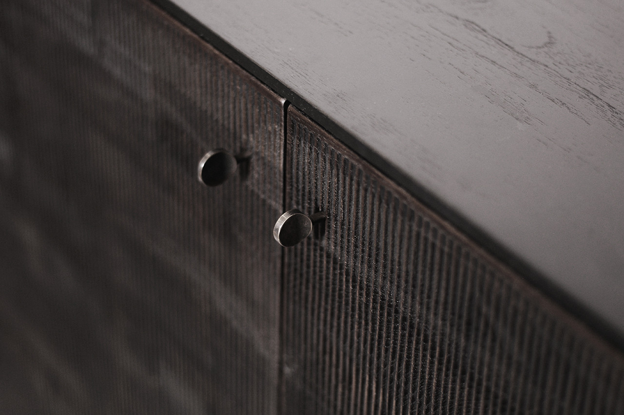 Teak Grooves Storage Cupboard Tall Cabinet