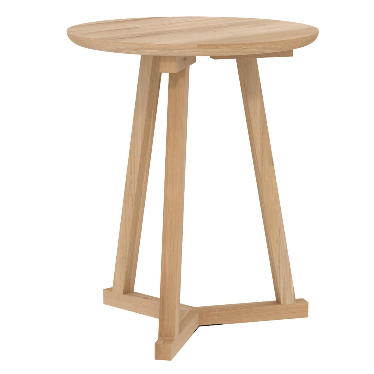 """Oak Tripod Round Side Table 18"""""""
