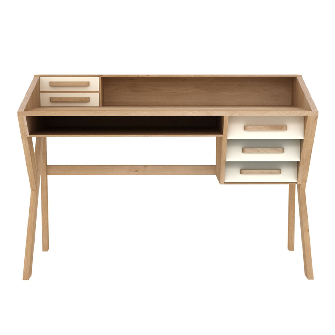 Kota Oak Origami Desk with Storage