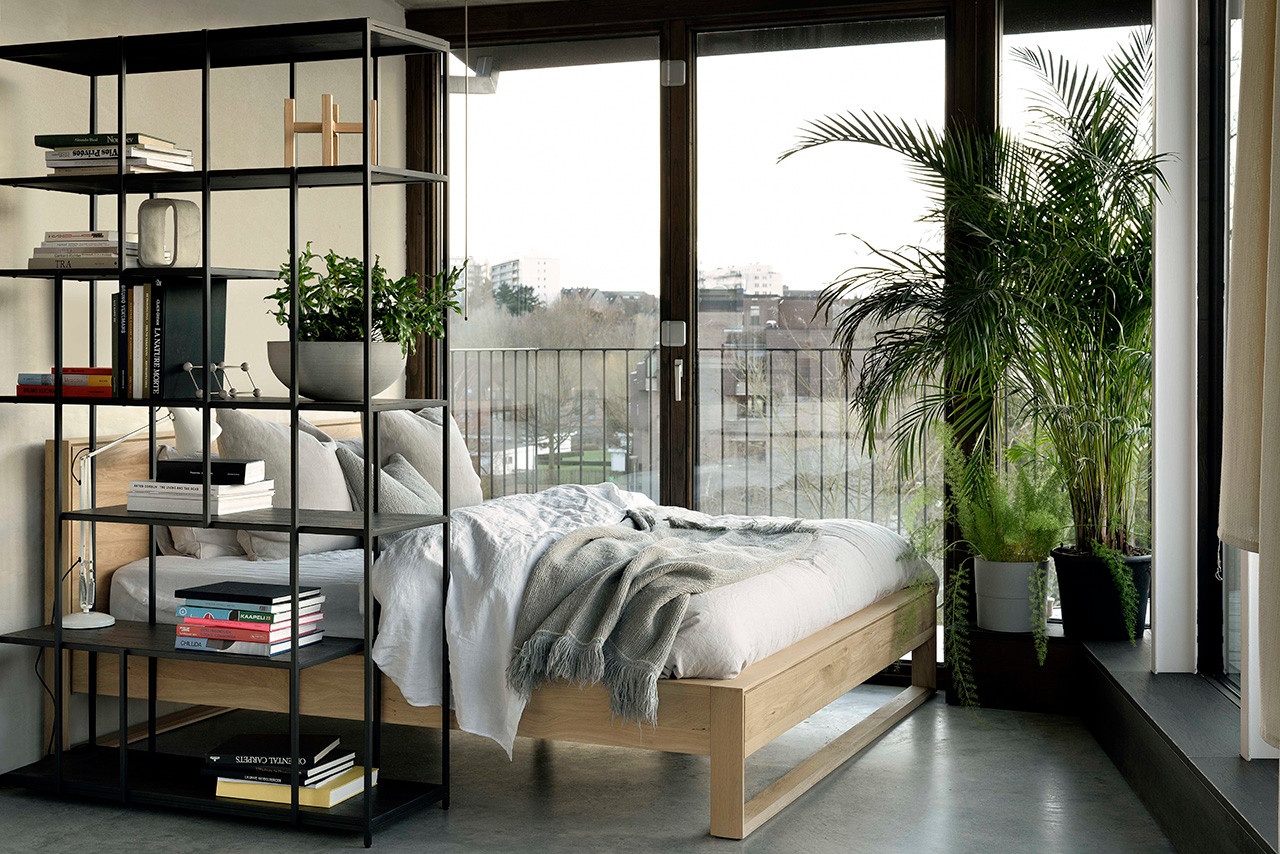 Oak Nordic Modern Wood Bed