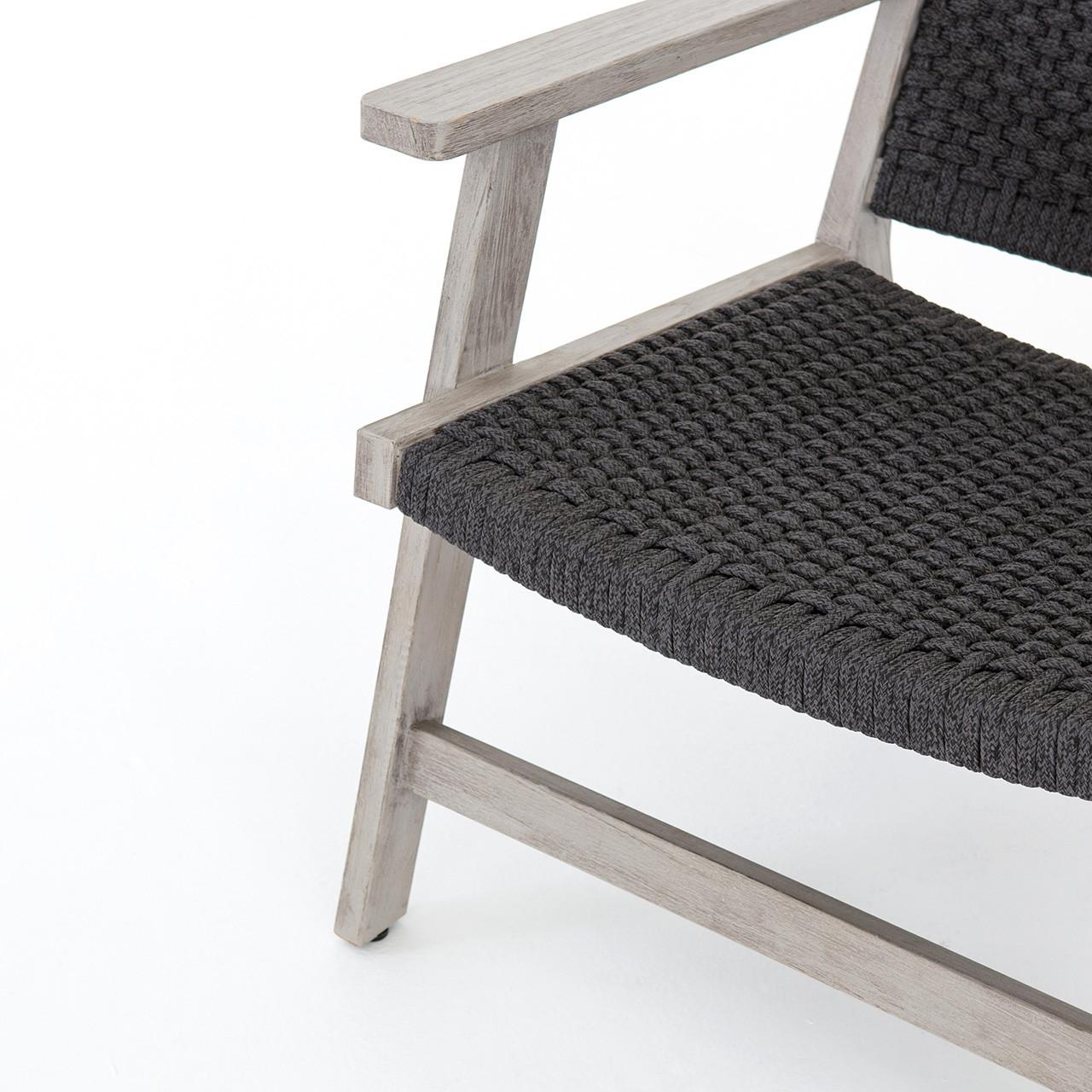 Teak Tamarack Outdoor Lounge Chair + Ottoman - Charcoal Grey