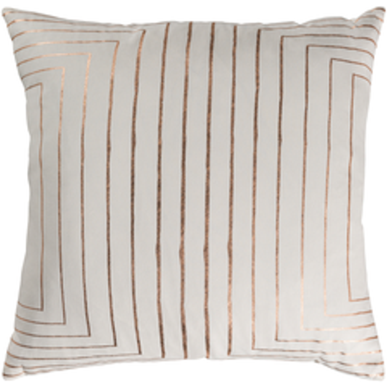 Crescent Ivory Pillow with Rose Gold Geometric Print