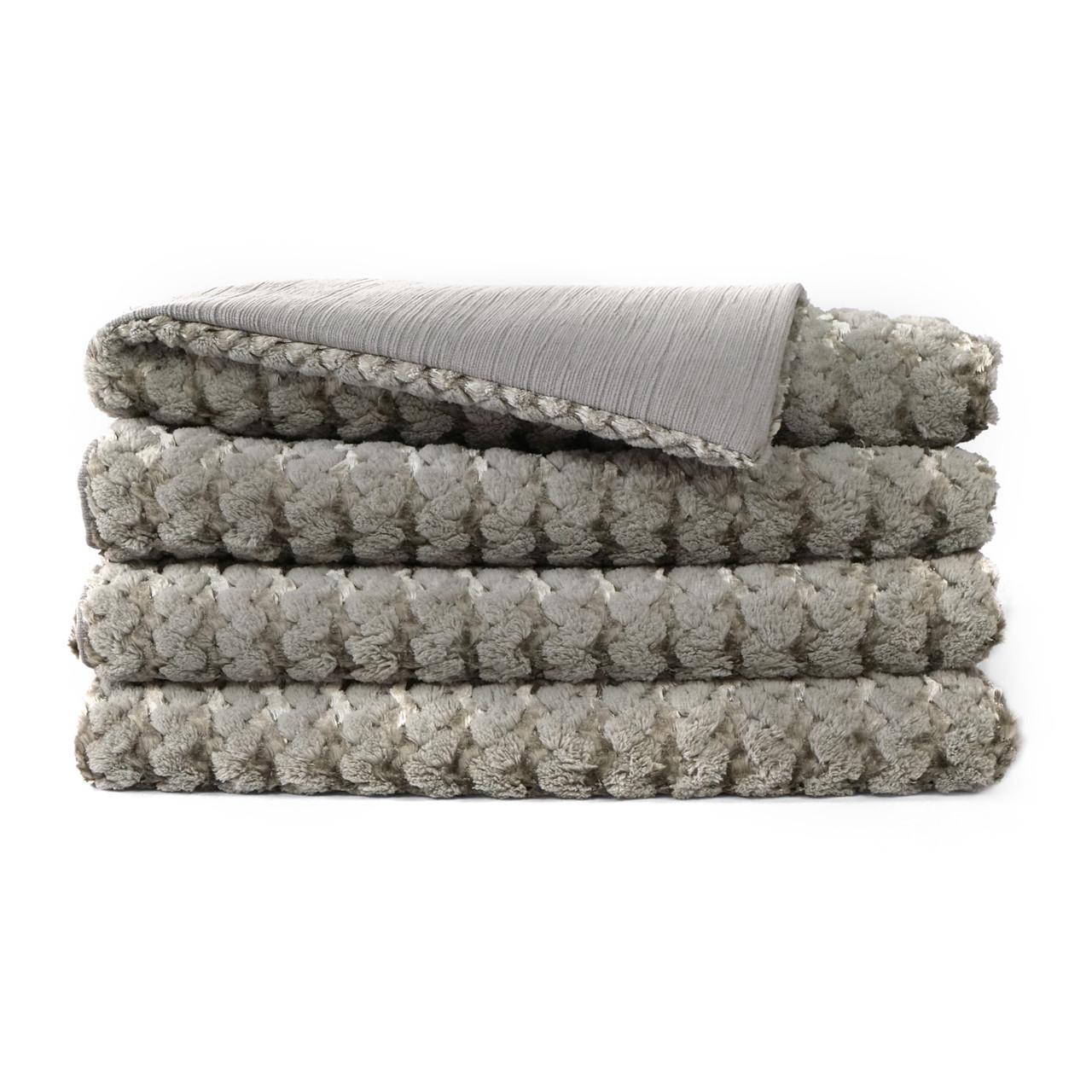 Gene Faux Fur Throw Blanket - Grey
