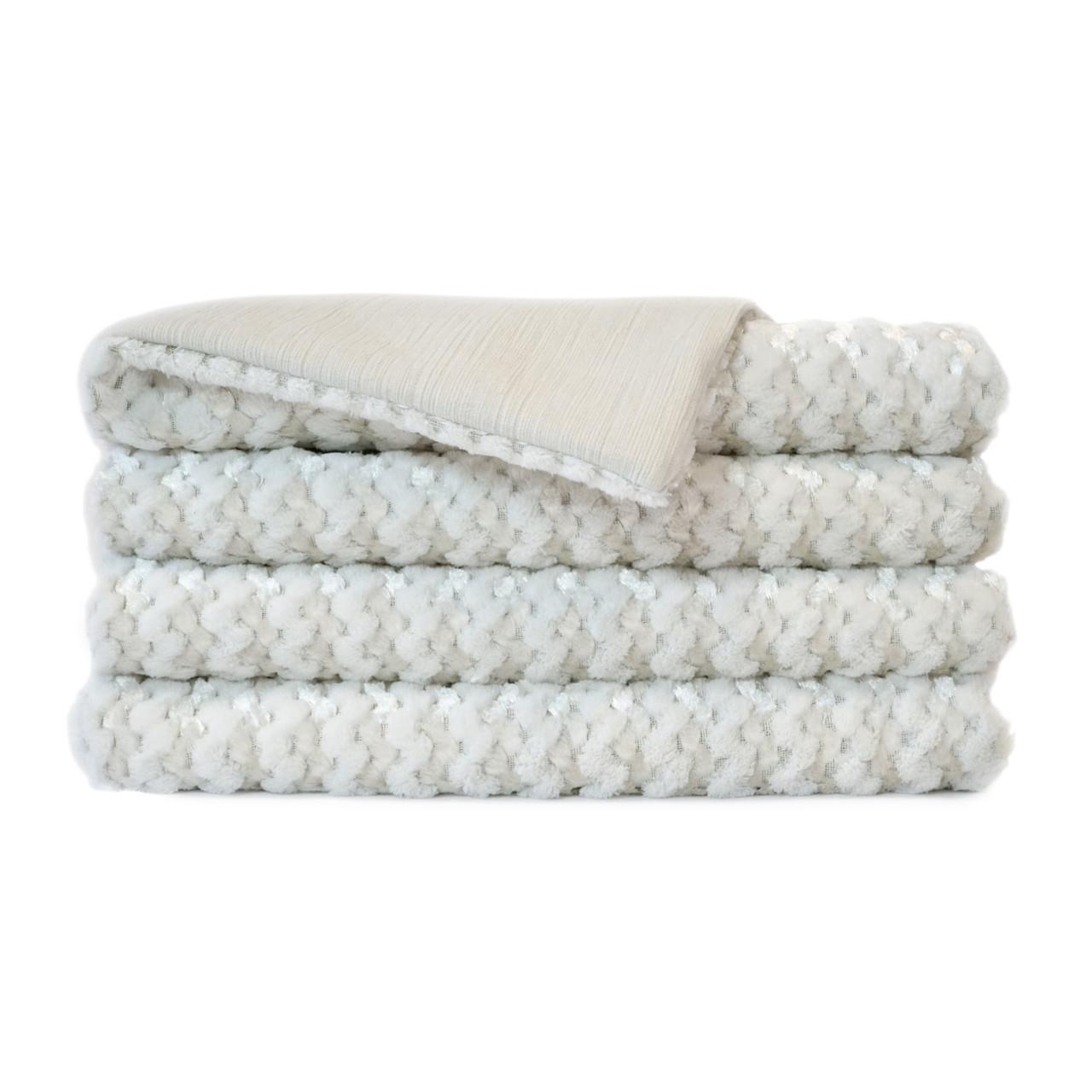 Gene Faux Fur Throw Blanket - Ivory