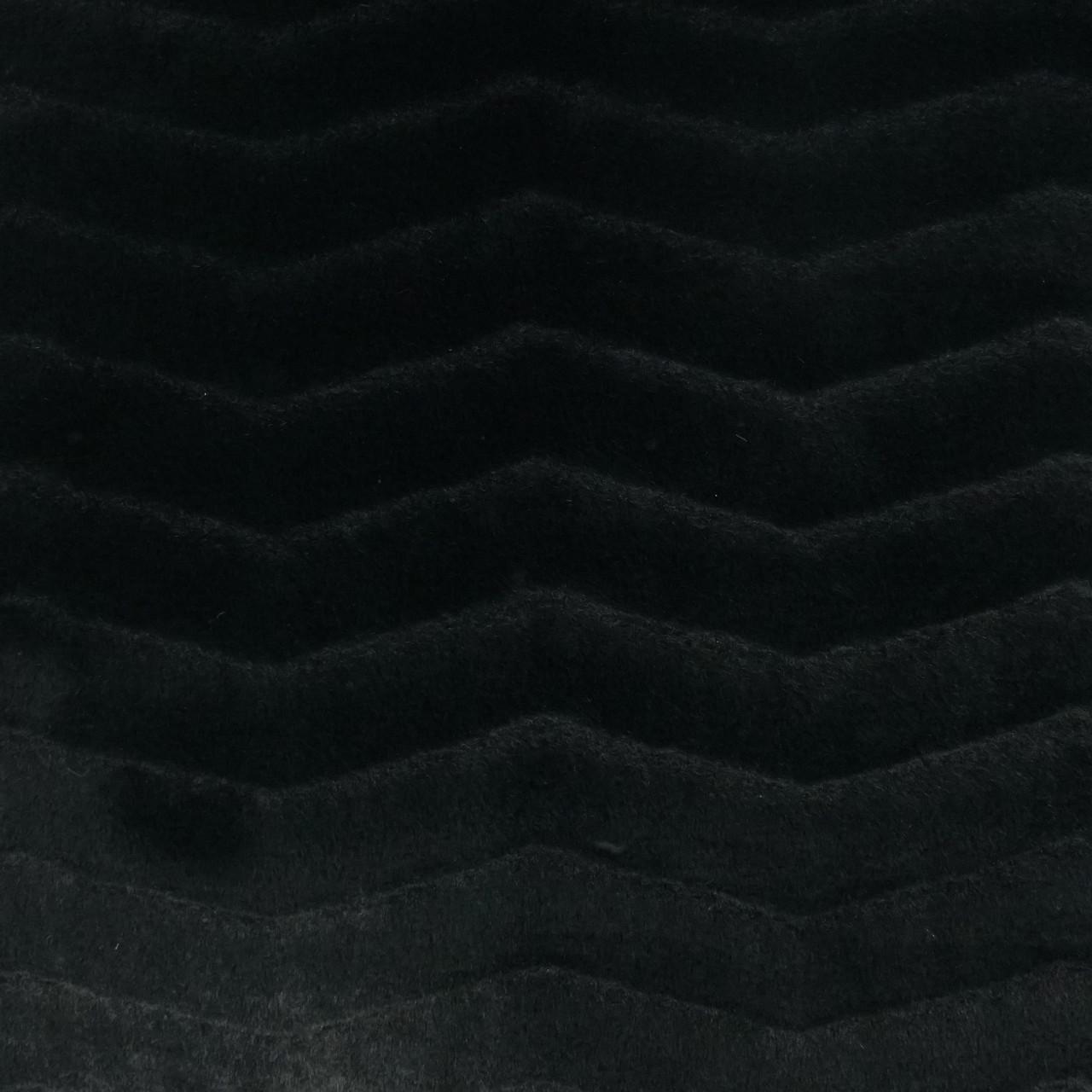 Lush Faux Fur Chevron Throw Pillow - Black