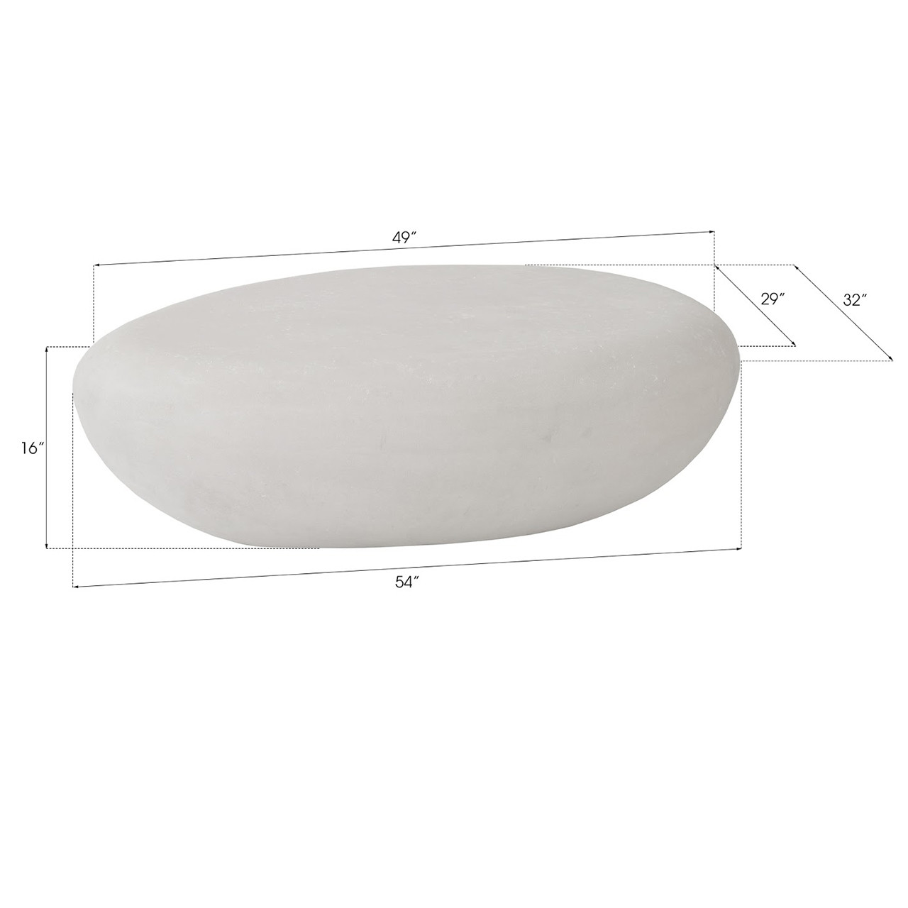 River Stone Oval Outdoor Coffee Table - Large