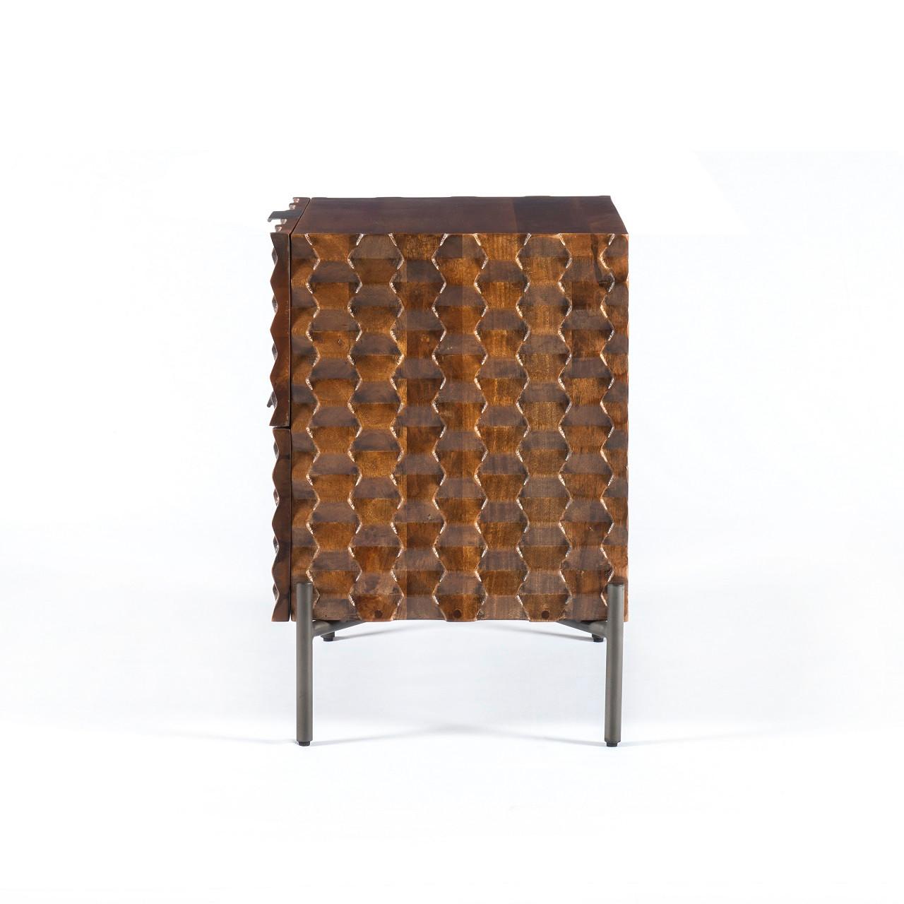 Raffael Nightstand - Carved Antique Brown