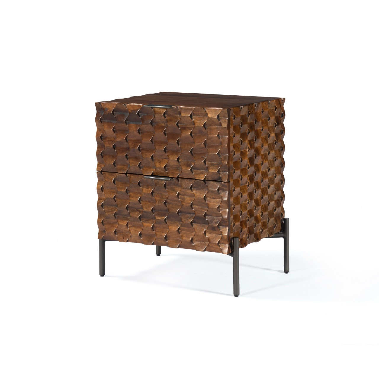 Logan Nightstand - Carved Antique Brown