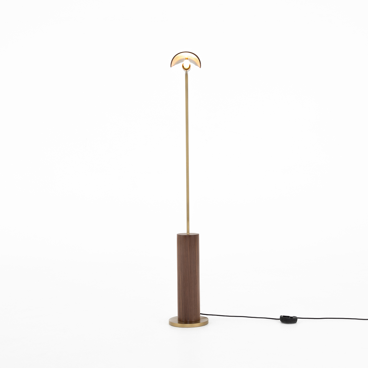 Austria Floor Lamp-Dark Brown Leather