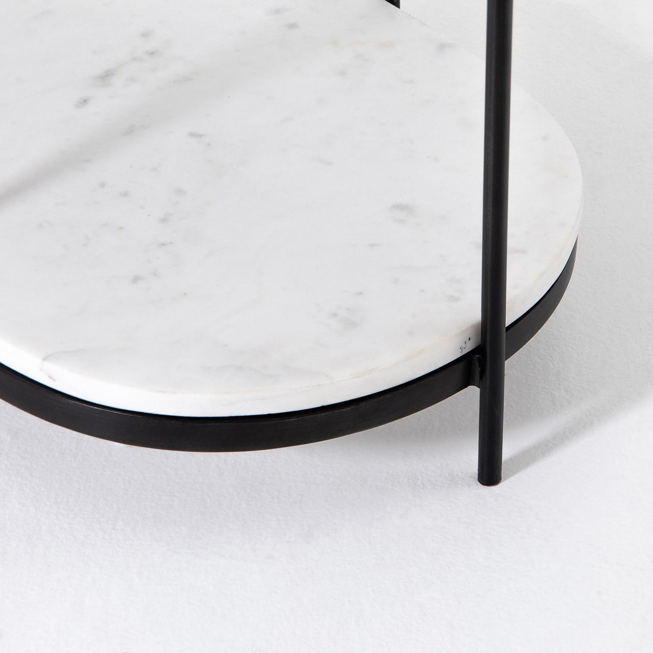 Felix Oval Nightstand - Hammered Grey