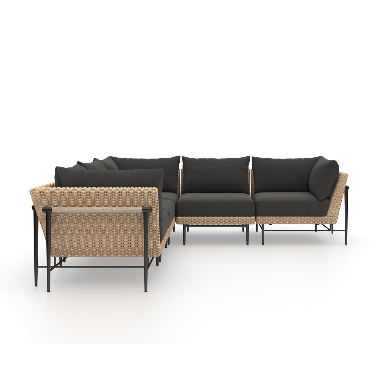 Charlotte Outdoor 5 PC Sectional-Natural