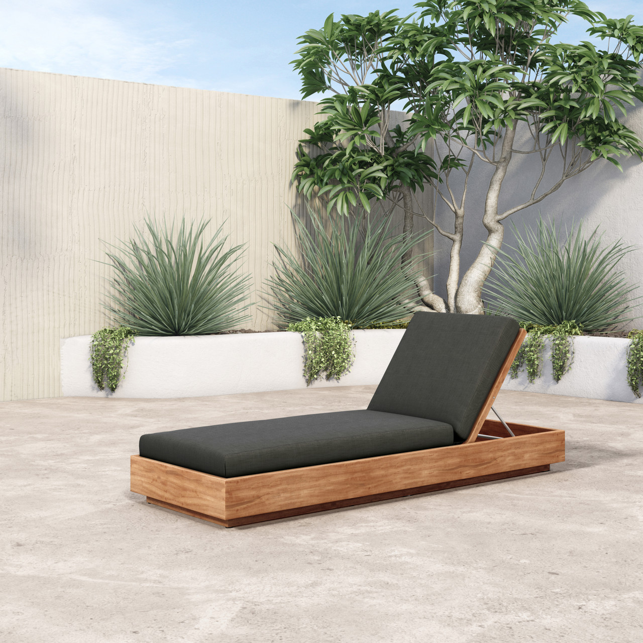 Wyatt Outdoor Chaise-Charcoal