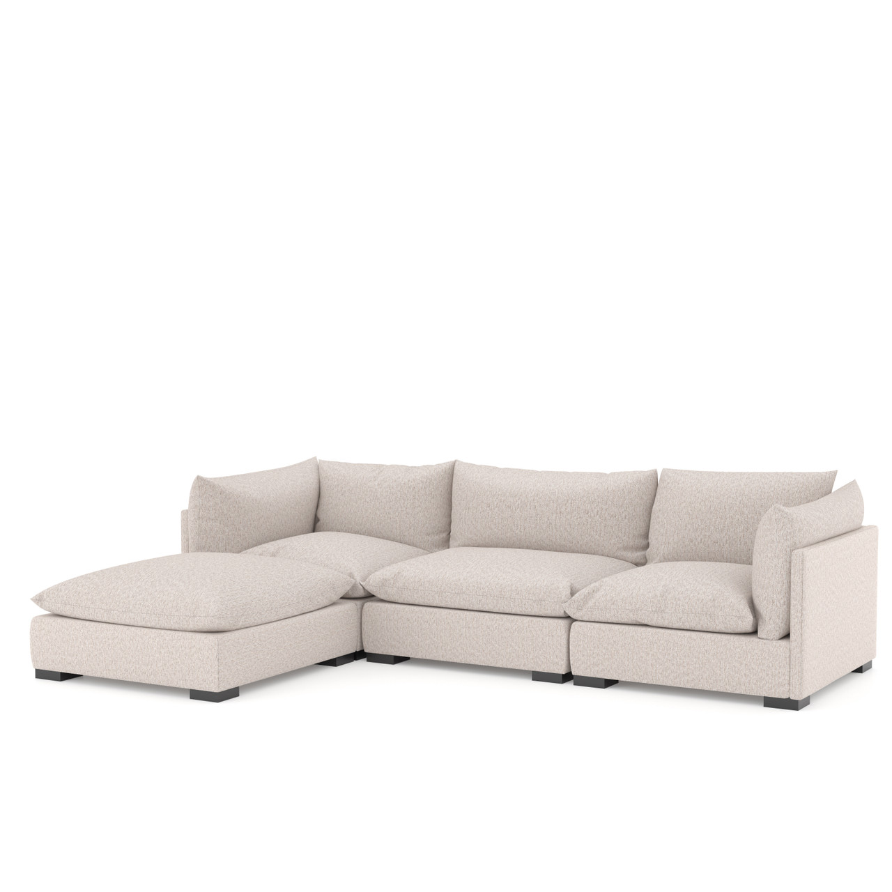 Zoe 3 PC Sectional W/ Ottoman-Bayside Pebble