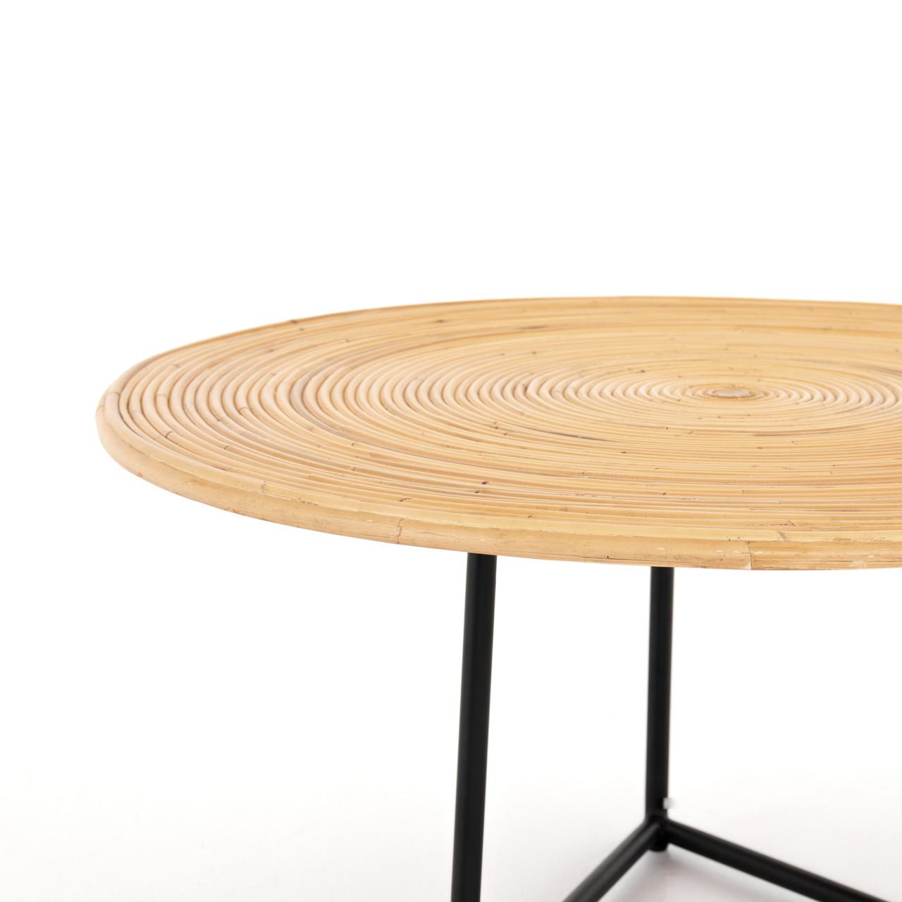 Clover Round Coffee Table-Honey Rattan