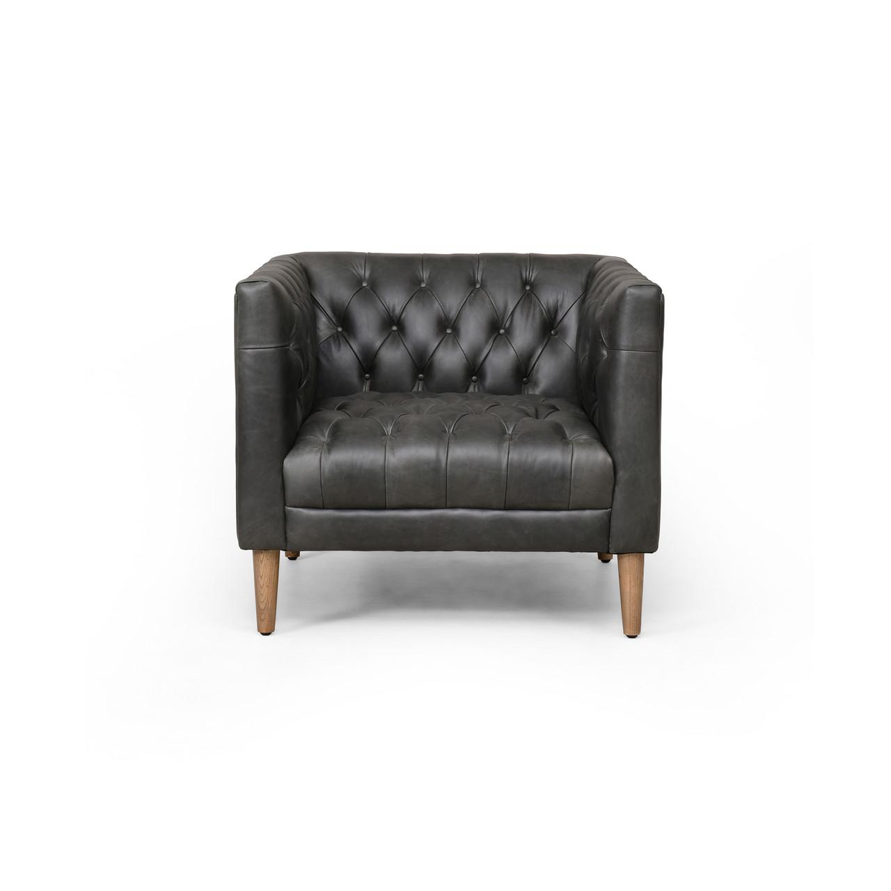 Devon Leather Chair - NW Ebony