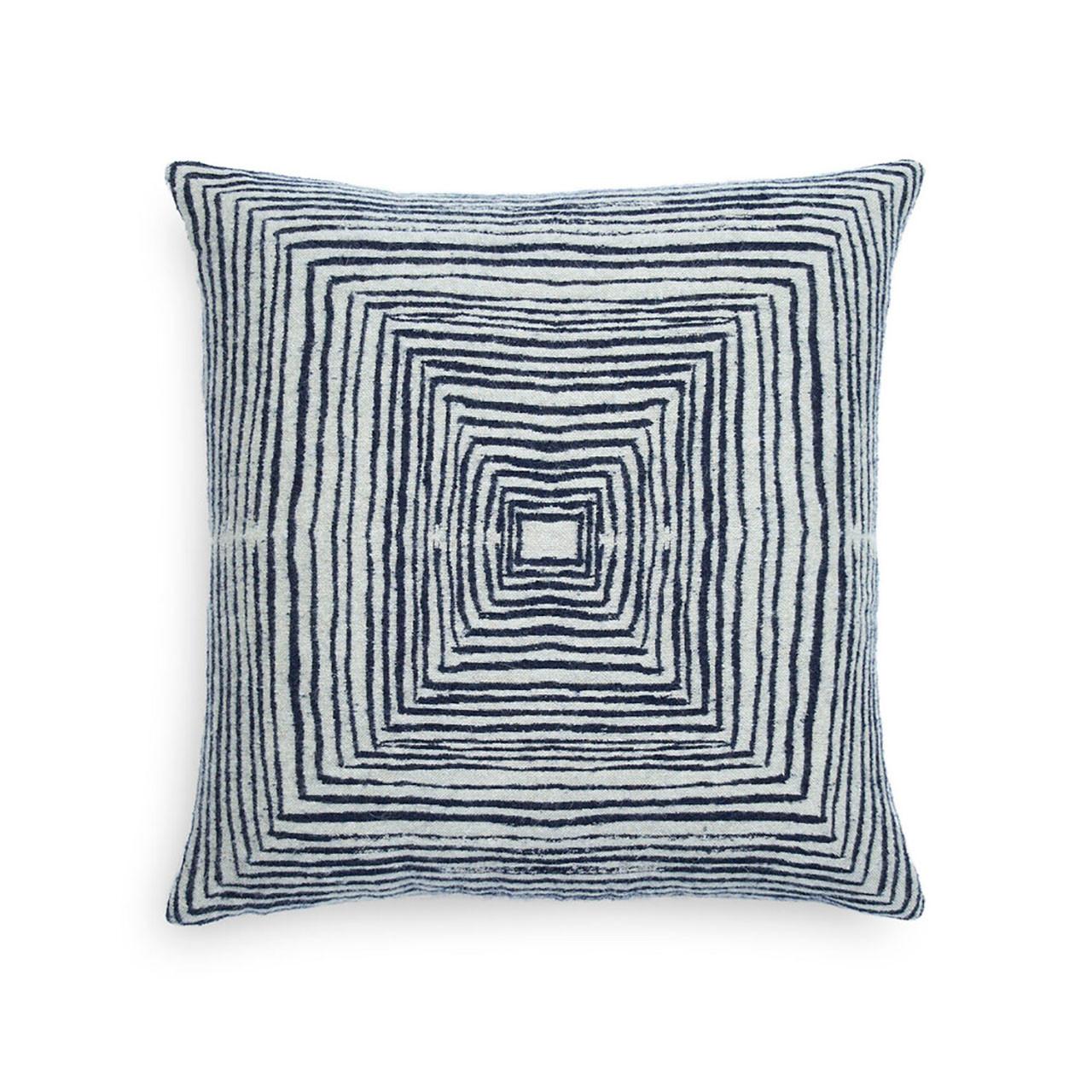 White Linear Square Pillow - Square