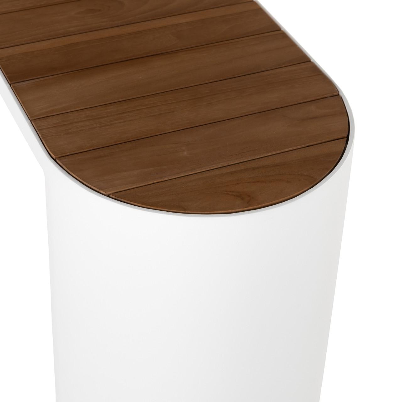 Kye Outdoor Bench W/Planter - White