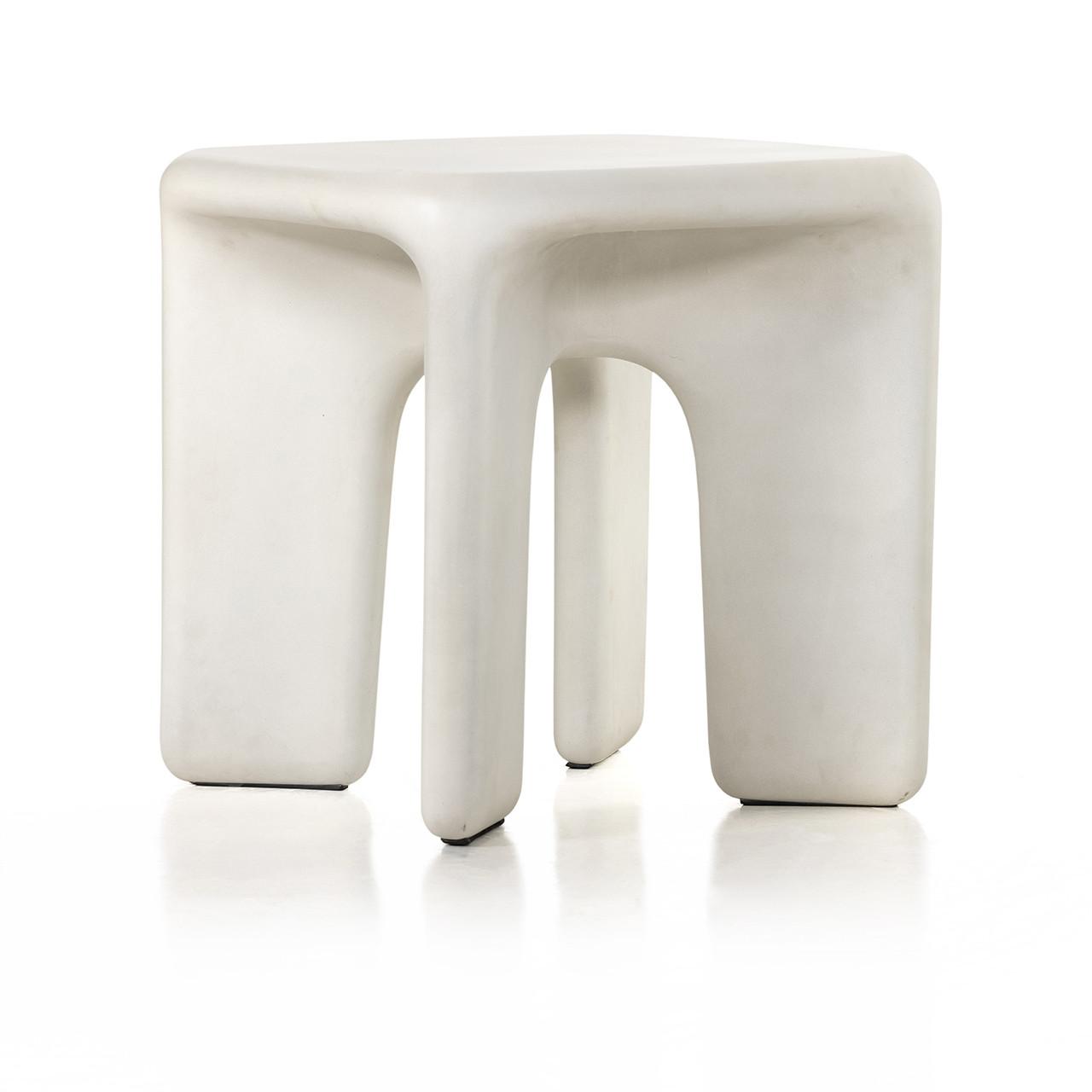 Dea End Table - White Concrete