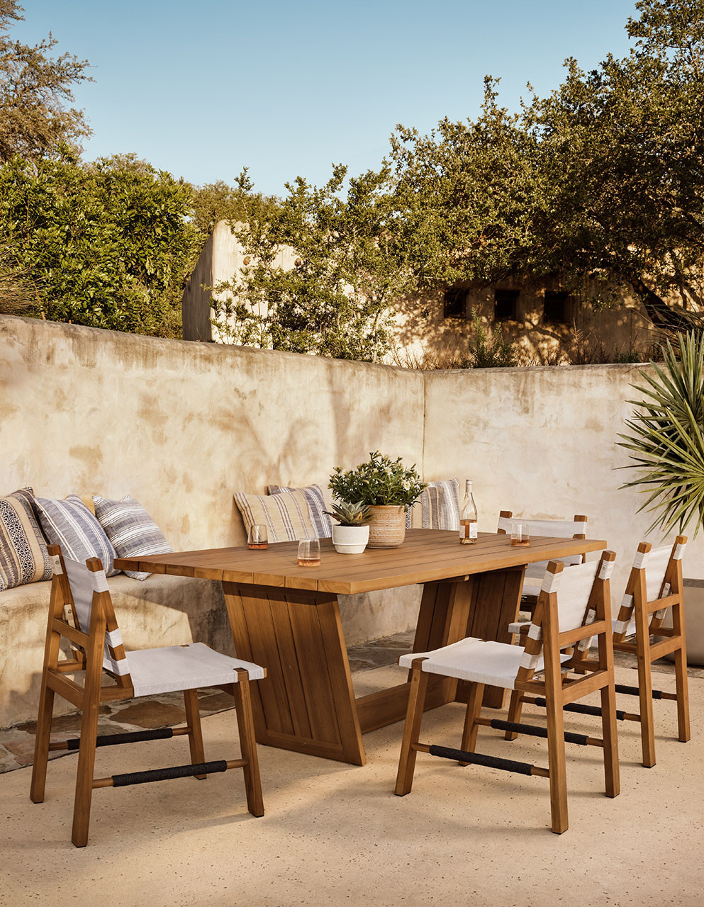 """Winder  Outdoor Dining Table-87"""" - Natural"""